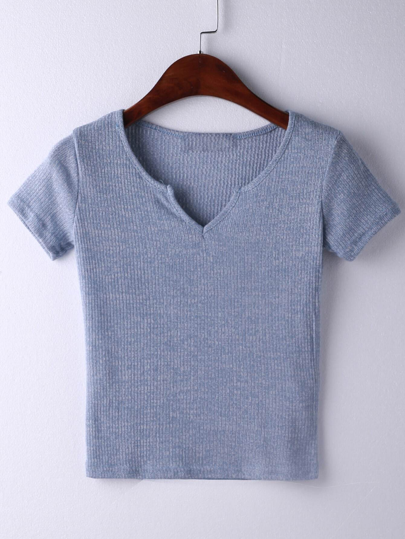 Light Blue Short Sleeve V Neck Ribbed T-shirt  цена и фото