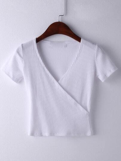 White Short Sleeve Cross V Neck T-shirt