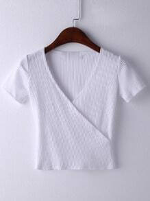 White Short Sleeve Cross V Neck T-shirt