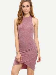 Red Sleeveless Dip Hem Bodycon Dress