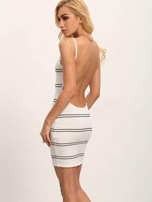 White Striped Sleeveless Backless Bodycon Dress