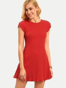 Red Cap Sleeve Pocket Basic Dress