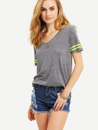 Striped Trim Sleeve T-shirt