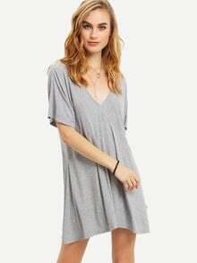 Light Grey Short Sleeve Crisscross Back Dress