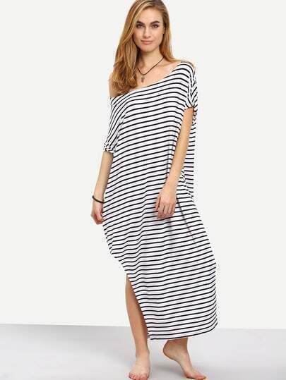 Black White Striped Split Side Maxi Dress