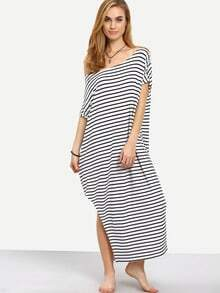 Black White Striped Split Side Maxi Dress