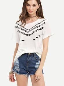 Beige Short Sleeve Print T-shirt