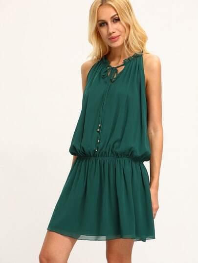Green Sleeveless Tie Neck Pleated Dress