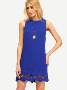 Royal Blue Sleeveless Crochet Dress