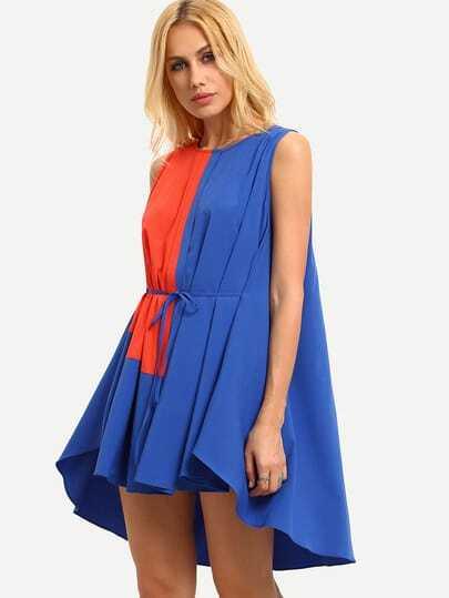 Multicolor Patchwork Tie Waist Dip Hem Shift Dress