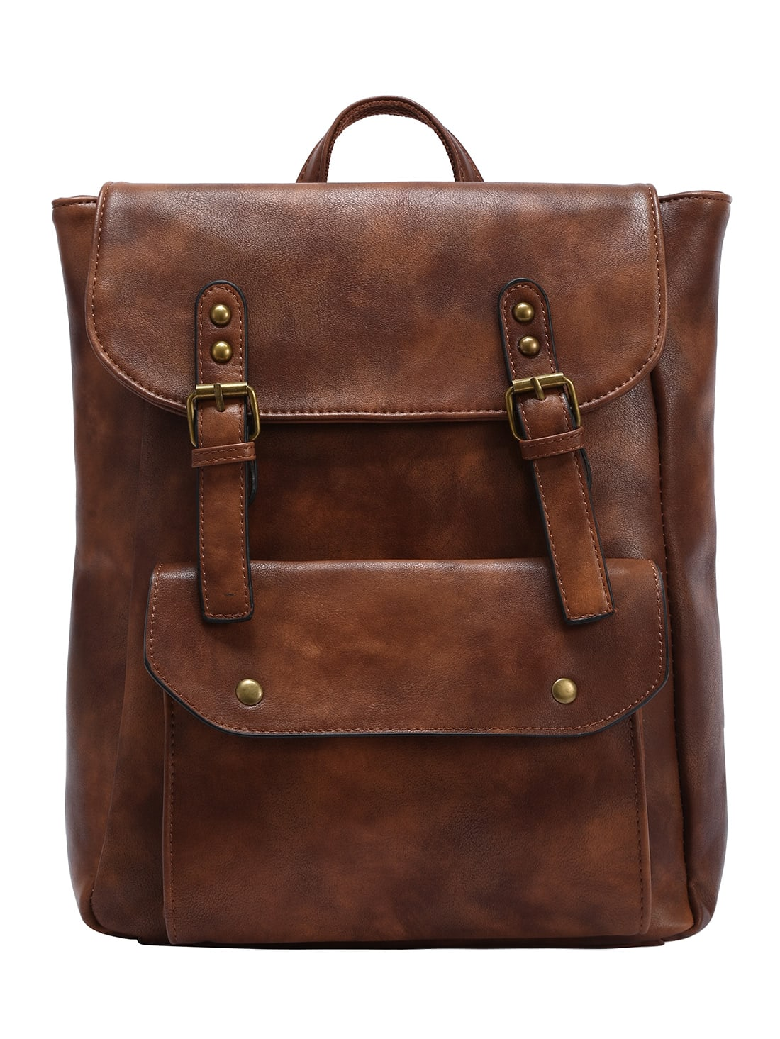 Фото Faux Leather Double Buckle Strap Backpack - Brown. Купить с доставкой