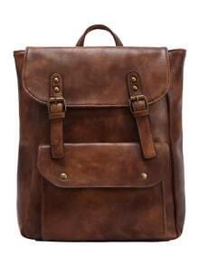 Rucksack aus Kunstleder mit Schanllen -braun