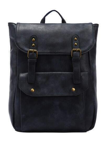 Faux Leather Double Buckle Strap Backpack - Navy