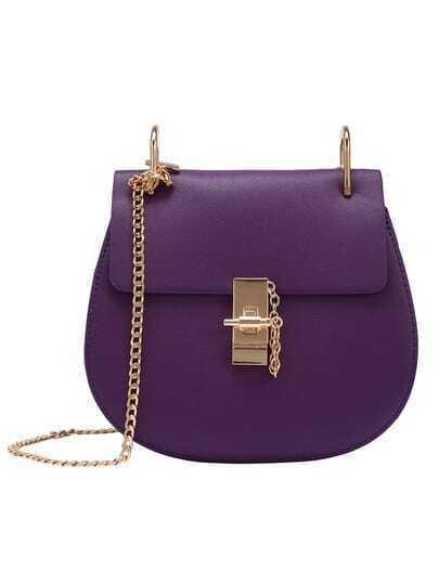 Faux Leather Chain Saddle Bag - Purple
