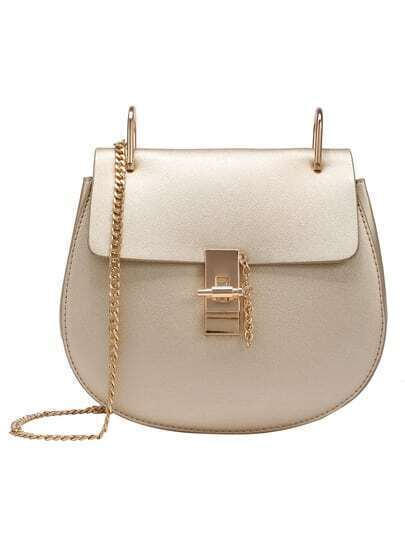 Faux Leather Chain Saddle Bag - Gold