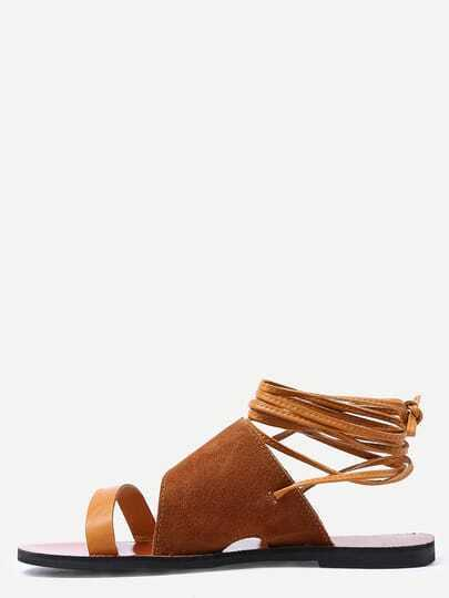 Brown Faux Suede Strappy Sandals