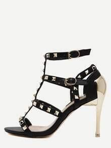 Black Open Toe Studded Slingbacks Heels