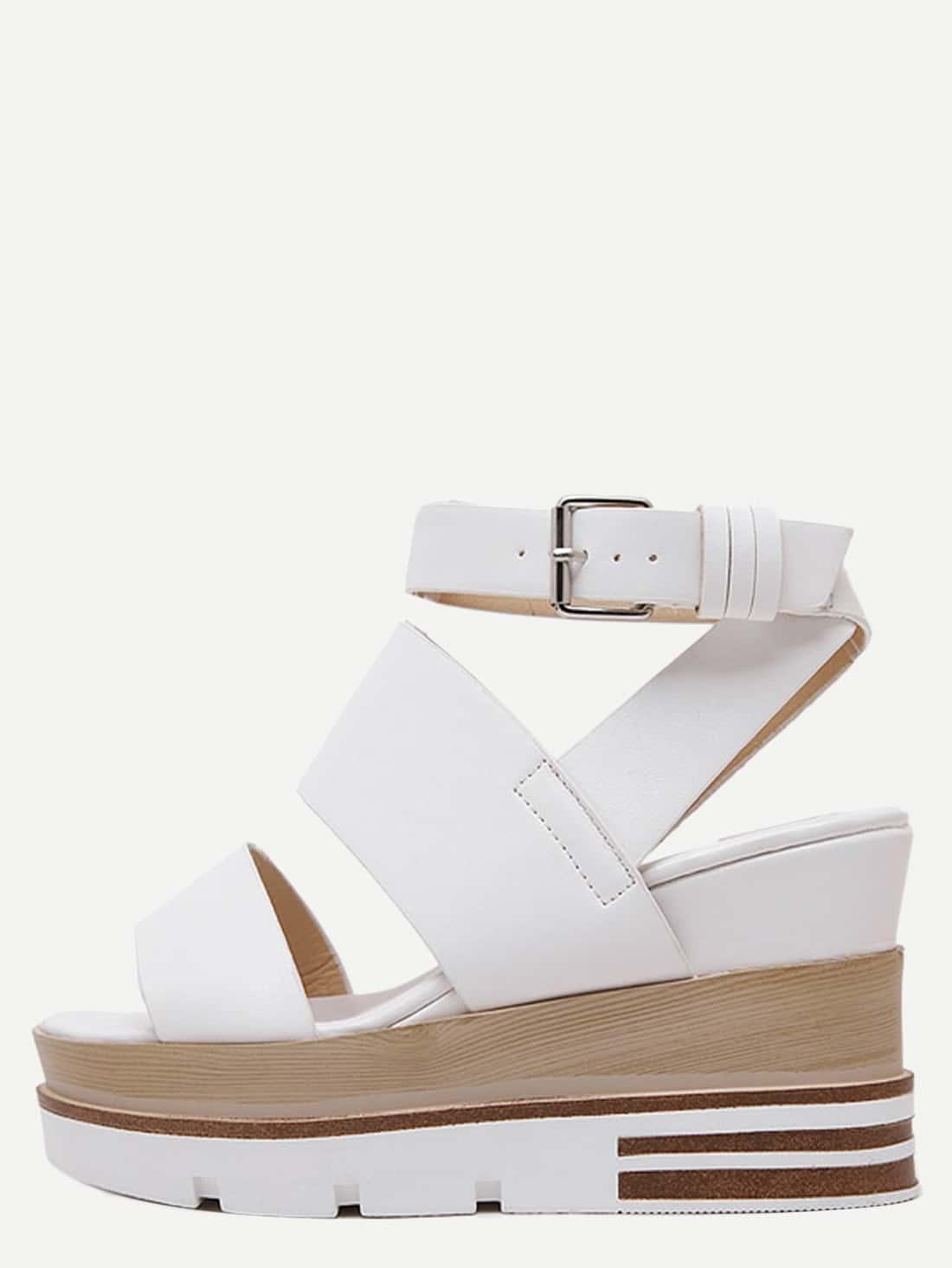 white open toe platform wedge sandals shein sheinside