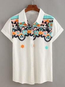 Flower Embroidered Short Sleeve Blouse