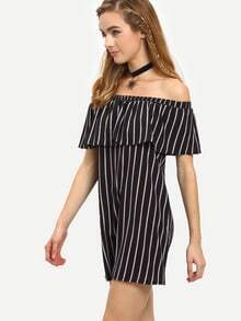 Off-The-Shoulder Vertical Striped Dress