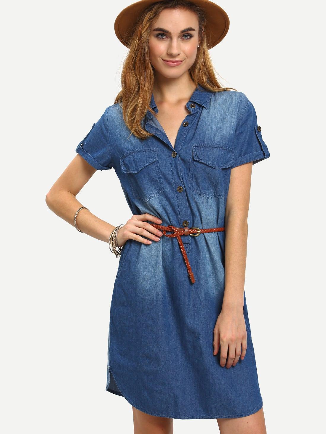 belted dual flap pocket denim shirt dress shein sheinside