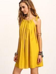Tie-Shoulder Pleated Swing Dress