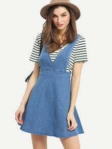 Surplice Front Sleeveless Flare Denim Dress
