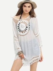 Crochet Trimmed Asymmetric Dress