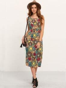 Circle Print High Waist Tank Dress