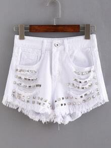 Ripped Studded White Denim Shorts
