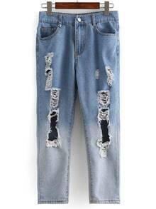 Distressed Ombre Straight Jeans