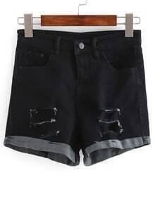 Ripped Rolled Hem Denim Shorts