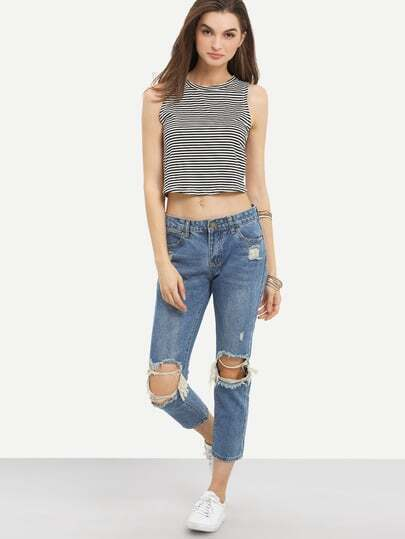Knee Ripped Ankle Jeans -SheIn(Sheinside)