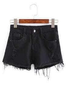 Denim Shorts mit zerrissenen Designs und Fransen Saum -schwarz