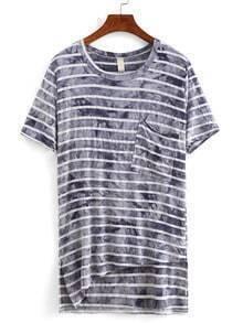 Striped Tie Dye Asymmetric T-shirt