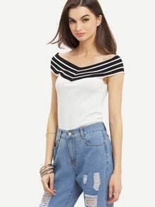 Contrast Striped Boat Neck T-shirt - White
