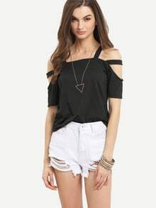 Cutout Strappy Shoulder T-shirt