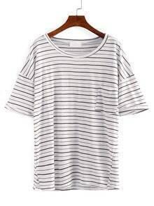Drop Shoulder Pocket Front Striped T-shirt