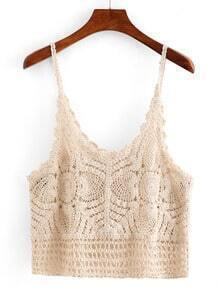 Hollow Out Crop Crochet Cami Top