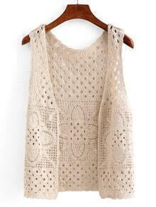 Open-Front Hollow Out Crochet Vest