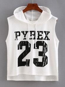 Varsity Print High-Low Hooded Top - White