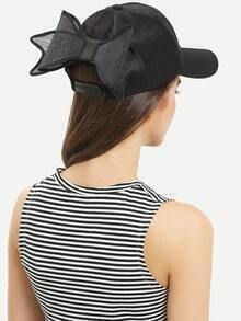 Bow-Knot Embellished Baseball Hat - Black