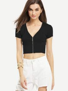 Zip Front Ribbed Knit Crop Top - Black