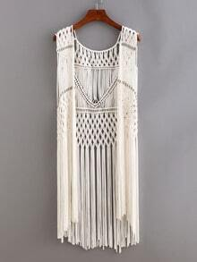 Beaded Macrame Fringe Open-Front Top - White
