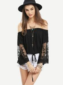 Off-The-Shoulder Lace Sleeve Blouson Top