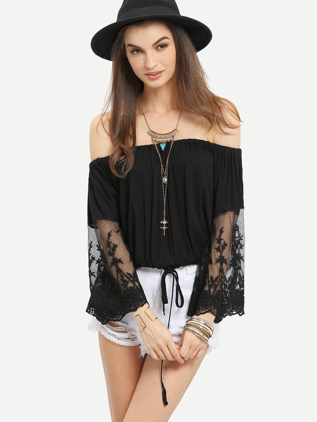 Off-The-Shoulder Lace Sleeve Blouson Top blouse160511060