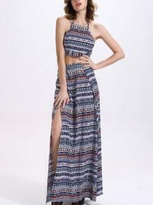 Tribal Print Crop Cami Top With Long Skirt