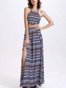 Tribal Print Crop Cami Top With Long Skirt