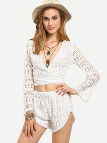 Surplice Front Crop Lace Top With Shorts