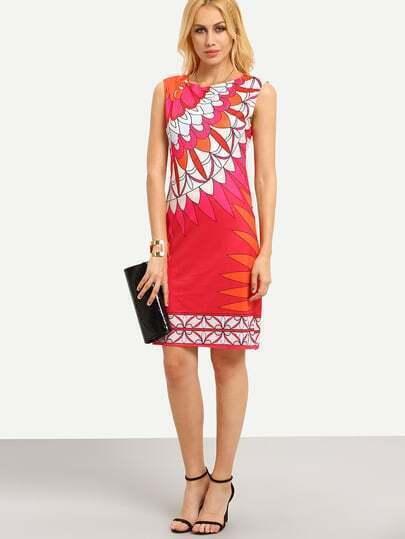 Flower Print Sleeveless Sheath Dress